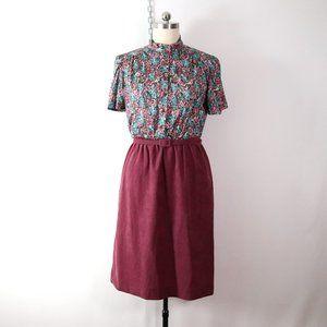vintage 70s 80s floral velour midi dress L large